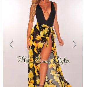 Hot Miami Styles Floral Sheer Mesh Swim Cove Skirt